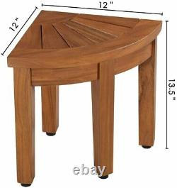 13.5 Teak Shower Foot Stool Wood Corner Shower Bench Bathroom Spa Bath Seat