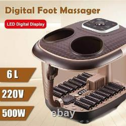220V Electric Foot Spa Bath Massager with Rolling Vibration Heat Oxygen Bubbles