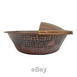 2 Rustic Copper Foot Soak Bath Massage Spa Therapy Pedicure Bowls + 2 Footrests