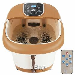 All-In-One Foot Spa Bath Massager Tem/Time Set Heat Bubble Vibration With6 Roller