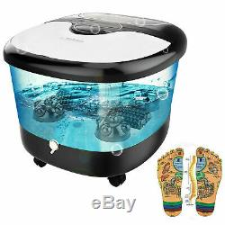All in One Foot Spa Bath Massager with Heat, Motorized Shiatsu Roller and Bubbles