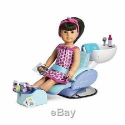 American Girl Doll Blue Salon Spa ChairSalon Accessories+Foot Bath & Sounds