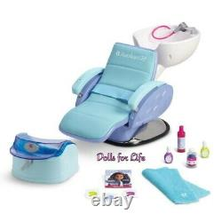 American Girl Doll Spa Chair Blue Salon Accessories Foot Bath Water Sounds NEW