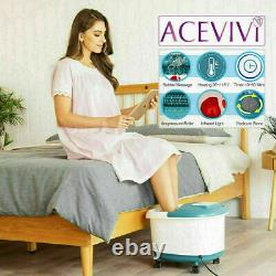 Aolier Ellectric Foot Massager Spa Bath Massage Rollers Heat Bubbles Timer Pro
