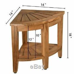 Bath Shower Stool Seat Bathtub Spa Bench Chair Teak Wood Foot Rest