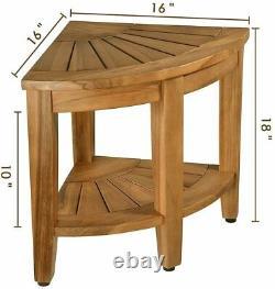Bath Shower Stool Seat Bathtub Spa Bench Chair Teak Wood Foot Rest with Shelf US