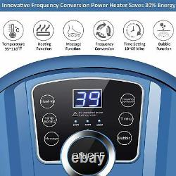 Blue Foot Spa Bath Massager with Massage Rollers Heat and Bubbles Temp Timer