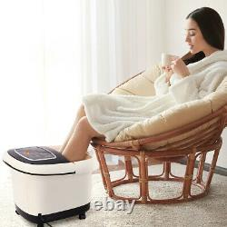 Costway All-In-One Foot Spa Bath Massager Tem/Time Set Heat Vibration With4 Roller