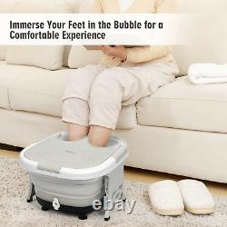 Foldable Foot Spa Bath Motorized Massager with Bubble Red Light Timer Heat