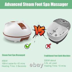 Foot Bath Massager Shiatsu Kneading Heat Steam Spa Circulation Rolling Massage