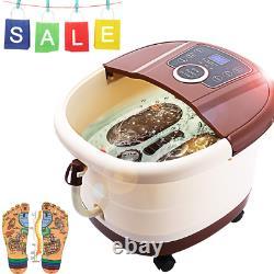 Foot Bath Spa Massager+Heat Bubbles, Pedicure Spa Soaker 16Motorized Shiatsu Roll