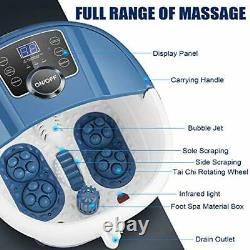 Foot Bath Spa Massager with Heat Bubbles, Heated Foot Spa with Motorized Blue
