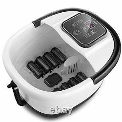 Foot Spa Bath Massager with Heat Bubble Jets 8 Removable Long Massage Rollers