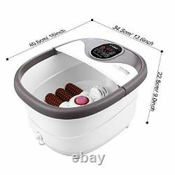 Foot Spa Bath Massager with Heat, Bubble Jets and 6 Electric Long Purple-grey