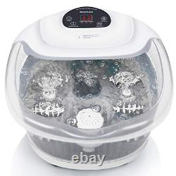 Foot Spa/Bath Massager with Heat Bubbles Vibration 3 in 1 Function, 4 Masssaging