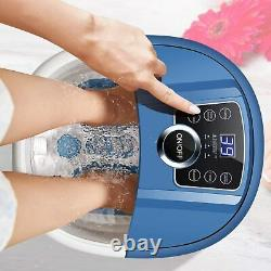Foot Spa Bath Massager with Heat Bubbles Vibration Massage Rollers Temp Timer 500W