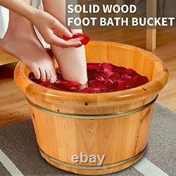 Foot Spa Bath With Massager And lid SoIid Wood Handmade, Pedicure Tub Deep Foot