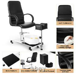 Hydraulic Lift Pedicure Unit withFoot Rest+Stool Massage Footbath Spa Beauty Salon