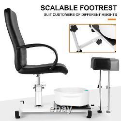 Hydraulic Pedicure Station Chair Footbath Massage Beauty Nail Salon Spa with Stool