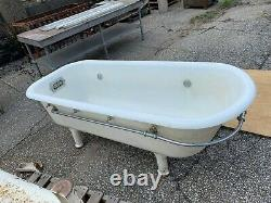 LARGE Antique 6 1/2 FT Cast Iron White Porcelain SPA Footed Bathtub Vtg 192-20J