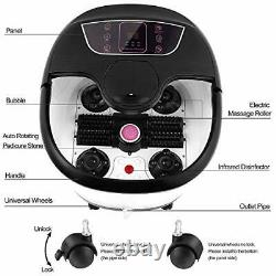 Motorized Foot Spa Bath Massager withHeat Massage and Bubble Jets, Red Black