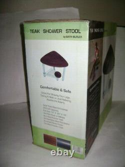 NEW BATH BUTLER TEAK SHOWER STOOL with STORAGE CORNER CHAIR SEAT BENCH SPA FOOT