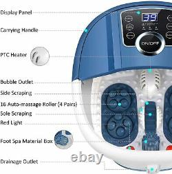 Ovitus Foot Spa Bath Massager with Massage Rollers Heat and Bubbles Temp Timer