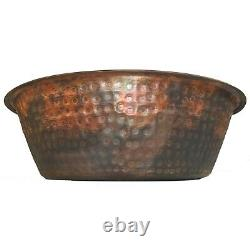 Pair Vintage Style Copper Foot Bath Wash Massage Spa Therapy Pedicure Bowls
