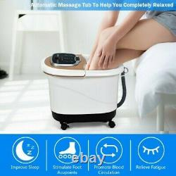 Portable All-In-One Heated Foot Bubble Spa Bath Motorized Massager-Coffee Col