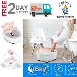 Portable Foot Spa Bath Massager Bubble Heat Soaker Vibration Pedicure Soak Tub