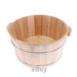Practical Deep Wood Foot Spa Bath Basin Tub Soaking Bucket Barrel with Lid Cover
