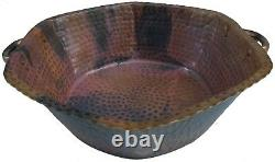 Reddish Rustic Hexagon Copper Foot Soaking Massage Spa Therapy Pedicure Bowls