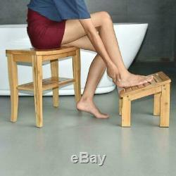 Shower Bench Shelf Bath Chair Seat Wood Spa Indoor Outdoor Bathroom withFoot Stool