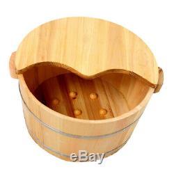 Solid Wood Foot Basin Foot Soaking Foot Bath Spa Massage + Wood Foot Stool