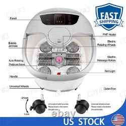 USA Foot Spa Bath Massage & Bubbles Ergonomic Self-Drainage & Mover Wheels