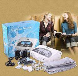 Updated LCD Pro Dual Ion Detox Ionic Foot Bath Spa Clean Machine Infrared Belt