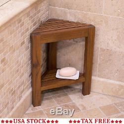 Wood Corner Shower Stool Bathroom Small Bath Bench Shelf Spa Foot Rest Seat Home