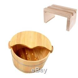 Wood Foot Spa Bath Basin Tub Feet Soaking Wash Bucket Barrel+Wood Foot Stool