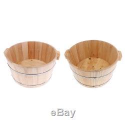 2pcs Vintage Wood Foot Spa Bain Bassin Pieds Baignoire Lavage Seau Barrel