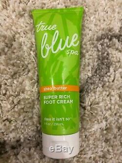 4 Bath & Body Works True Blue Spa Shea Ce N'est Pas Super Rich Crème Pieds 8 Oz
