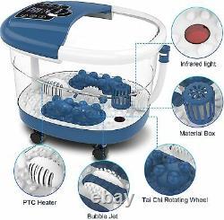 8pcs Roller Foot Bath Spa Massager W Bulles De Chaleur Temps Réglable & Temp, LCD