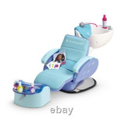 American Girl Spa Chair Blue Salon Accessoires Foot Bath Water Sounds Ships Now