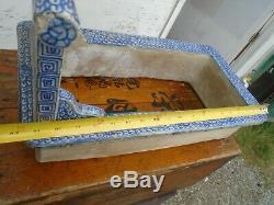 Antique Era Edo Japonaise Spa Bain De Pieds, Painted Pottery Chine Bleu Main Blanche