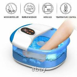Carevas Foot Spa Massager Bain De Pieds Chauffé Avec 14 Rouleaux De Massage O2 Bulles