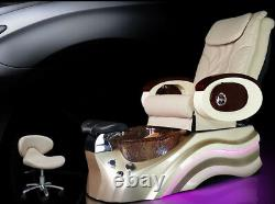 Cream Salon Shiatsu Massage Pedicure Pied Spa Chaise Pipeless Gold Tub Basin Tub