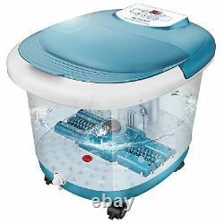 Ellectric Foot Massager Spa Bath Avec Massage Rollers Heat + Bubbles Temp Timer