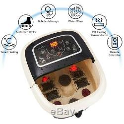 Foot Spa Bain De Massage All-in-one Temp Remote Control Time Set Heat Rouleaux Avec Ses 4