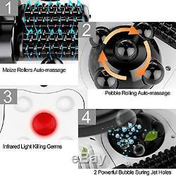Foot Spa Bain De Massage Bulle De Chaleur Réglable Chaud Chute D'eau Avec 4 Rouleaux Roues