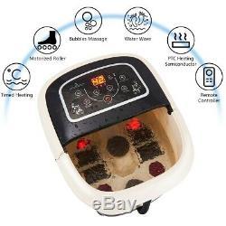 Foot Spa Bain De Massage Tem / Time Set Heat Bubble Vibration Chute D'eau Rouleau Avec Ses 4