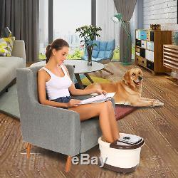 Foot Spa Bain Motorisé De Massage Avec La Chaleur, Temps Réglable Et Led De Température